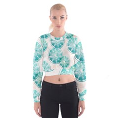 Turquoise Citrus And Dots Women s Cropped Sweatshirt