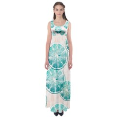 Turquoise Citrus And Dots Empire Waist Maxi Dress