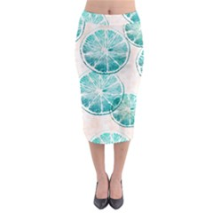 Turquoise Citrus And Dots Midi Pencil Skirt