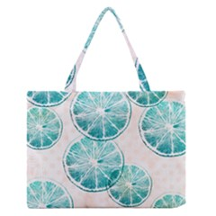 Turquoise Citrus And Dots Medium Zipper Tote Bag