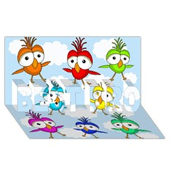 Cute Colorful Birds  Best Bro 3d Greeting Card (8x4) by Valentinaart