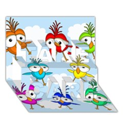 Cute Colorful Birds  Take Care 3d Greeting Card (7x5) by Valentinaart
