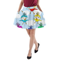 Cute Colorful Birds  A Line Pocket Skirt