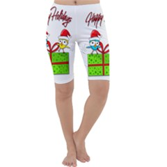 Cute Xmas Birds Cropped Leggings  by Valentinaart