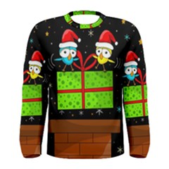 Cute Christmas Birds Men s Long Sleeve Tee