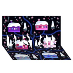 Magical Xmas Night Best Sis 3d Greeting Card (8x4) by Valentinaart