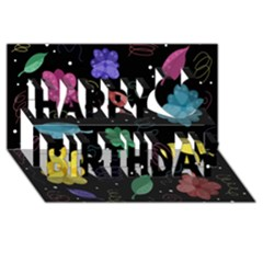 Colorful Floral Design Happy Birthday 3d Greeting Card (8x4) by Valentinaart