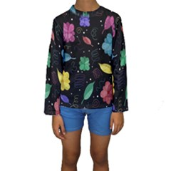 Colorful Floral Design Kids  Long Sleeve Swimwear