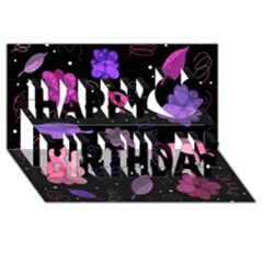Purple And Pink Flowers  Happy Birthday 3d Greeting Card (8x4) by Valentinaart