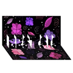 Purple And Pink Flowers  Best Sis 3d Greeting Card (8x4) by Valentinaart
