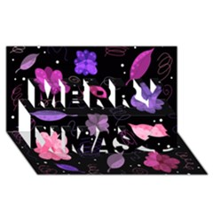 Purple And Pink Flowers  Merry Xmas 3d Greeting Card (8x4) by Valentinaart