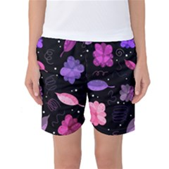 Purple And Pink Flowers  Women s Basketball Shorts by Valentinaart