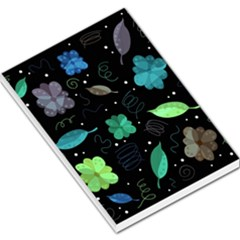 Blue And Green Flowers  Large Memo Pads by Valentinaart
