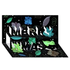 Blue And Green Flowers  Merry Xmas 3d Greeting Card (8x4)
