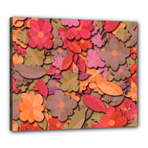 Beautiful Floral Design Canvas 24  X 20  by Valentinaart