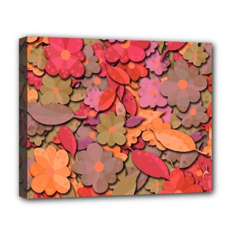 Beautiful Floral Design Deluxe Canvas 20  X 16   by Valentinaart