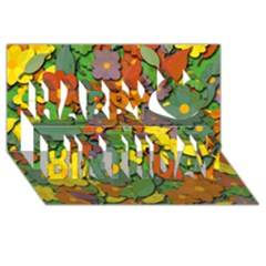 Decorative Flowers Happy Birthday 3d Greeting Card (8x4)