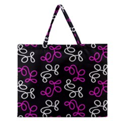 Elegance   Magenta  Zipper Large Tote Bag by Valentinaart