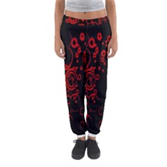 Abstraction Textures Black Red Colors Circles Women s Jogger Sweatpants by AnjaniArt