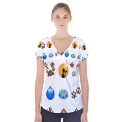 Cat Mouse Dog Short Sleeve Front Detail Top