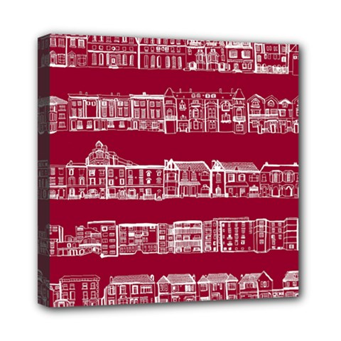 City Building Red Mini Canvas 8  X 8  by AnjaniArt