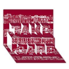 City Building Red Take Care 3d Greeting Card (7x5)