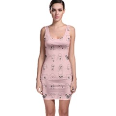 Dog Pink Sleeveless Bodycon Dress by AnjaniArt