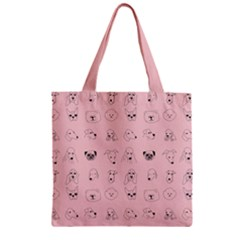 Dog Pink Zipper Grocery Tote Bag