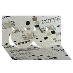 Coffe Cup Twin Hearts 3d Greeting Card (8x4)