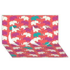 Elephant Twin Hearts 3d Greeting Card (8x4) by AnjaniArt