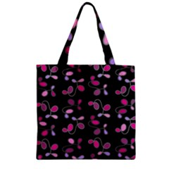 Magenta Garden Zipper Grocery Tote Bag by Valentinaart