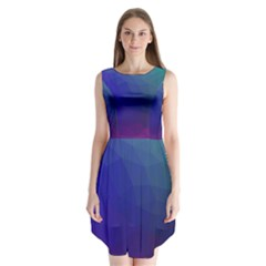Polyart Dark Blue Purple Pattern Sleeveless Chiffon Dress