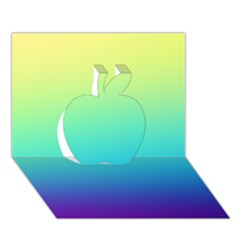 Purple Blue Green Apple 3d Greeting Card (7x5) by AnjaniArt