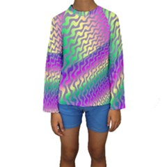 Line Colour Wiggles Kids  Long Sleeve Swimwear