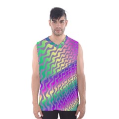 Line Colour Wiggles Men s Basketball Tank Top