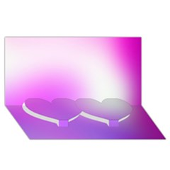 Purple White Background Bright Spots Twin Heart Bottom 3d Greeting Card (8x4)