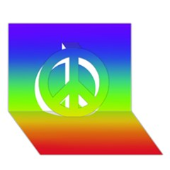 Rainbow Blue Green Pink Orange Peace Sign 3d Greeting Card (7x5)