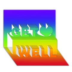 Rainbow Blue Green Pink Orange Get Well 3d Greeting Card (7x5)