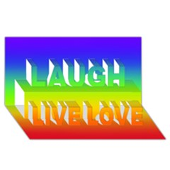 Rainbow Blue Green Pink Orange Laugh Live Love 3d Greeting Card (8x4) by AnjaniArt