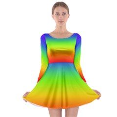 Rainbow Blue Green Pink Orange Long Sleeve Skater Dress