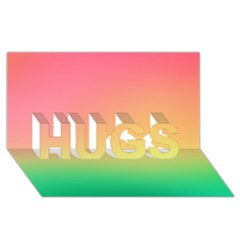 The Walls Pink Green Yellow Hugs 3d Greeting Card (8x4)