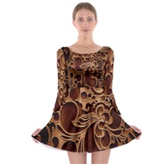 Tekstura Twigs Chocolate Color Long Sleeve Skater Dress
