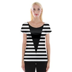 Black & White Stripes Big Triangle Women s Cap Sleeve Top by EDDArt