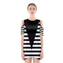 Black & White Stripes Big Triangle Cutout Shoulder Dress by EDDArt