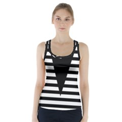 Black & White Stripes Big Triangle Racer Back Sports Top by EDDArt