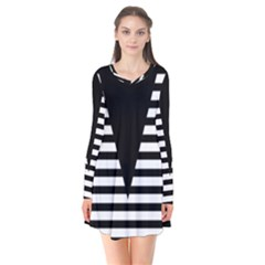 Black & White Stripes Big Triangle Flare Dress by EDDArt