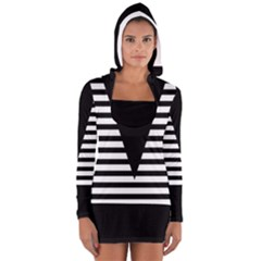 Black & White Stripes Big Triangle Women s Long Sleeve Hooded T-shirt by EDDArt