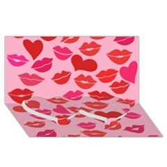 Valentine s Day Kisses Twin Heart Bottom 3d Greeting Card (8x4) by BubbSnugg