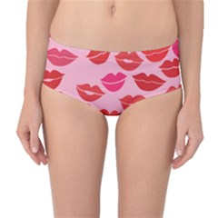 Valentine s Day Kisses Mid Waist Bikini Bottoms by BubbSnugg