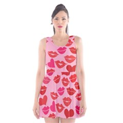 Valentine s Day Kisses Scoop Neck Skater Dress by BubbSnugg